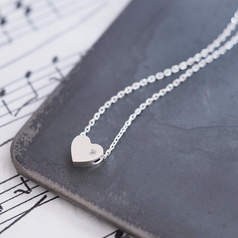 stone Heart Silver Necklace