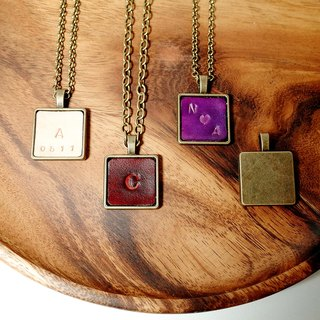 Leather Necklace , Keychain (12 colors / engraving service)