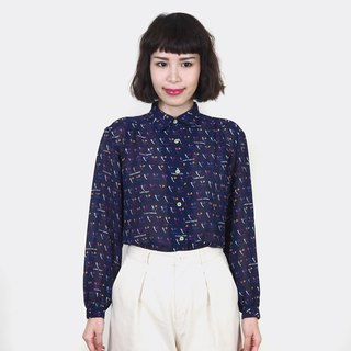 Blue retro toothbrush pattern chiffon vintage long sleeve shirt BM4032