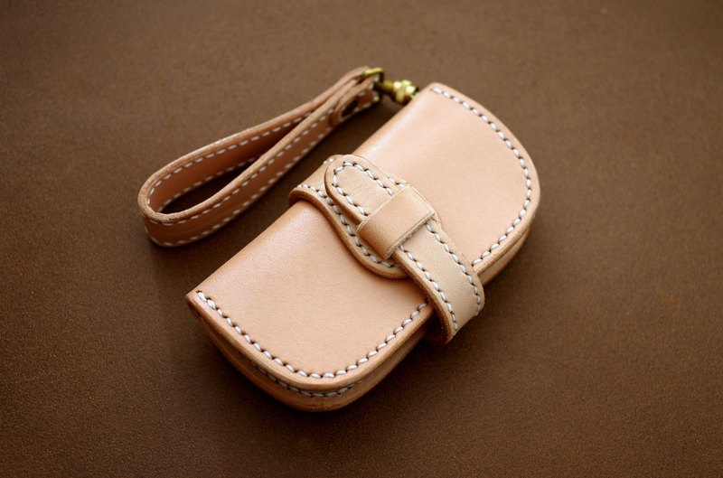 Saddle leather double folding belt key case