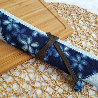 Imitation blue dyed flower piece Japan imported cotton cloth ~ environmental protection cutlery set / cutlery bag (4 format)