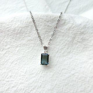 London Blue Topaz 925 Sterling Silver Princess Claw Necklace