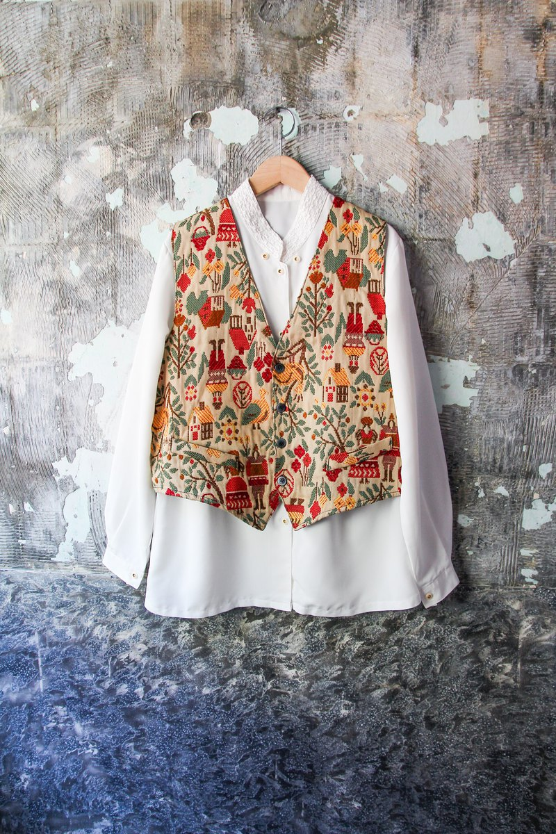 袅袅 department store-Vintage childlike hand-embroidered stitching vest retro