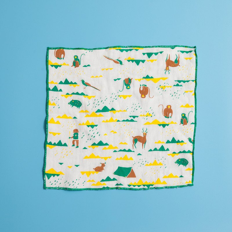 Square Gauze Towel / Trekking / Healthy Yellow & Green