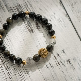 Gold meteorite series. Clean up. C section. Gold meteorite black crystal 8mm single layer bracelet.