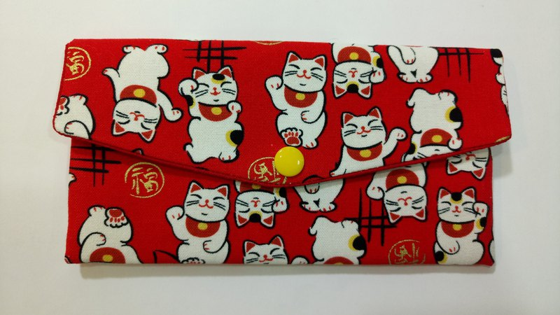 Lucky double red envelope bag / passbook storage bag (17 red bottom lucky cat)