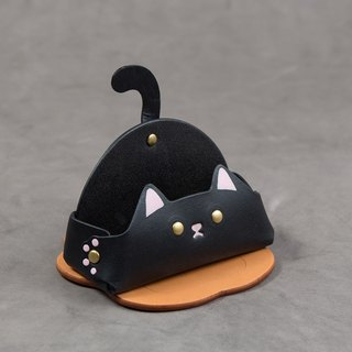 Animal Series - Business Card Holder / Mobile Phone Holder (Wide Edition - Black Cat)