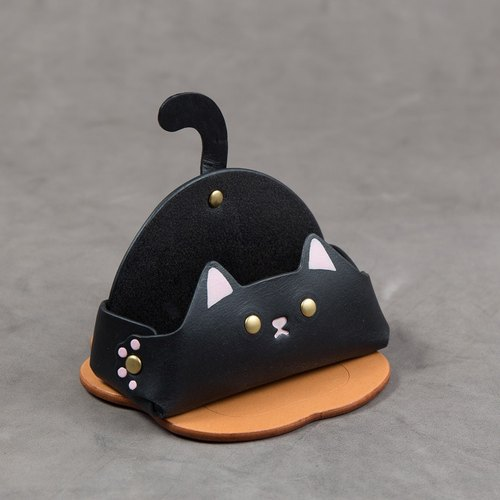 Animal Series - Business Card Holder/Mobile Phone Holder (Wide Edition - Black Cat)