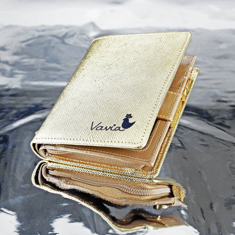 """ GOLD "" Pocket Book Short Wallet / Cow Leather"