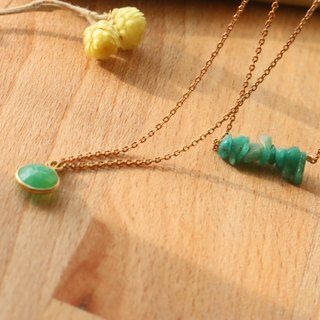 Chrysoprase Amazonite natural stone brass necklace 1009 (green grass)