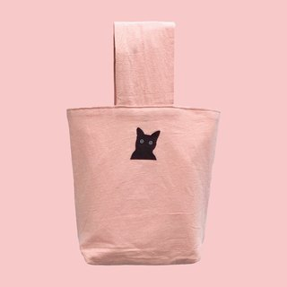 Sharp Xi Li kitten patch cotton and linen canvas retro bag handbag pink A4 double cloth bag magnet buckle large-capacity Valentine's Day gift New Year's gift