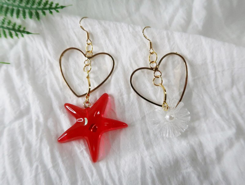 Ocean Series - Red Starfish 925 Pure Tremella Ear Clips