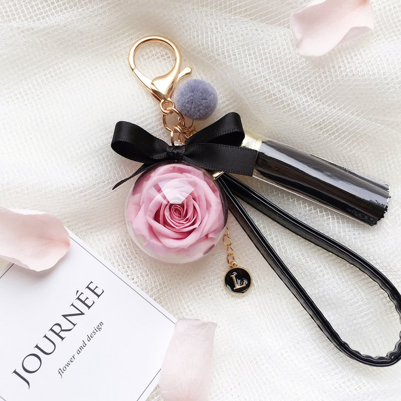 Journee pink immortal rose ball charm key ring custom letter round dry flower gift box