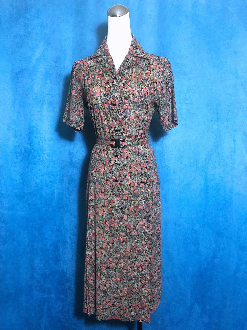Belt flower short-sleeved vintage dress / abroad brought back VINTAGE
