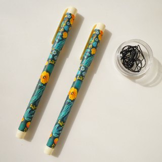 7321 - Natalie 0.5 Black Ball Pen (1 in) - Green Yellow Flower, 73D72733