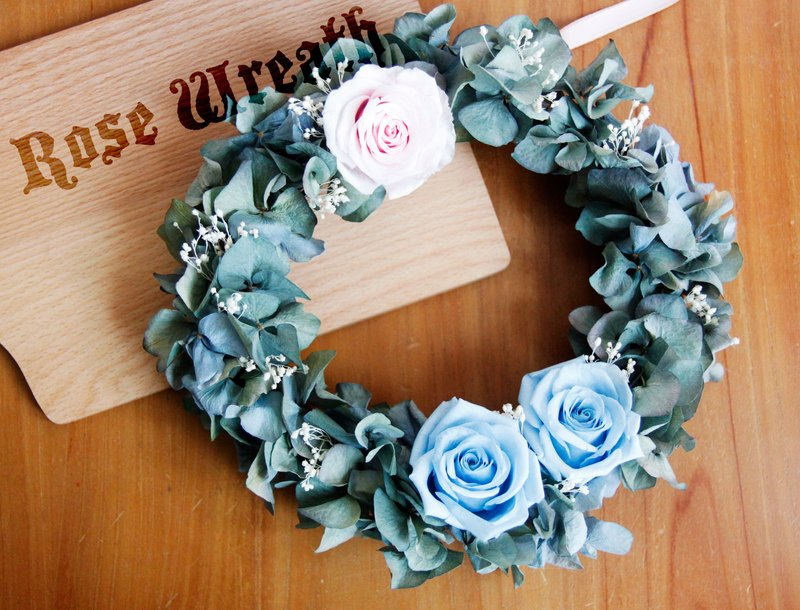 Classical Blue Hydrangea Undecided Rose Wreath Wedding Gifts Birthday Gift Opening Ceremony Customized