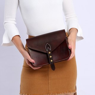 【Cut-off】 Pure hand-stained hand-sewn tanned leather Retro leather bag Saddle bag Women's shoulder bag Chocolate