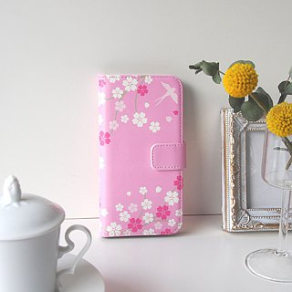 Notebook type phone case - Japanese Cherry Blossoms and Swallow -