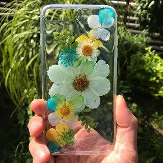 iPhone 7 Plus Handmade Dry Pressed Flowers Case Green Flower case 005
