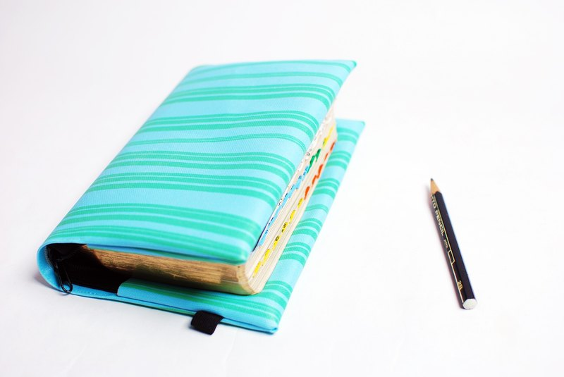 Blue and green. Stripes---custom Bible set / book cover