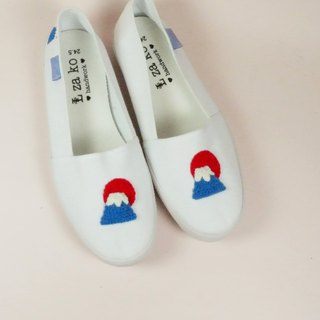 White cotton hand made canvas shoes red sun Fuji mountain models no weave