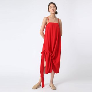KAI MIDI DRAWSTRING DRESS - SCARLET