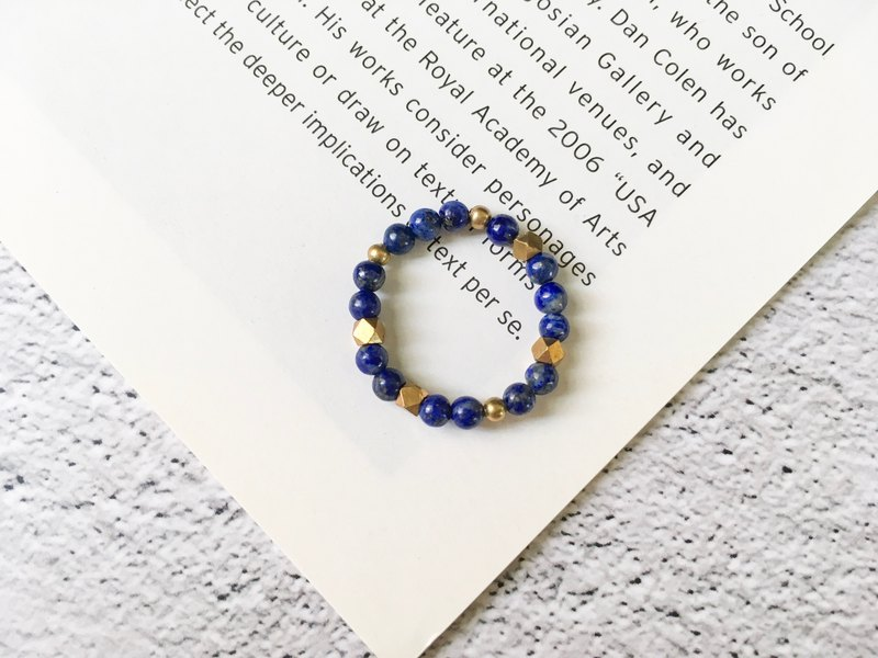 Lapis lazuli elastic ring brass beads can be ordered to ring natural stone