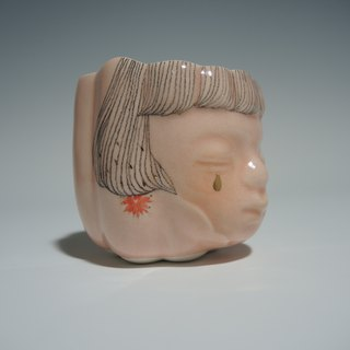 Safflower girl porcelain cup