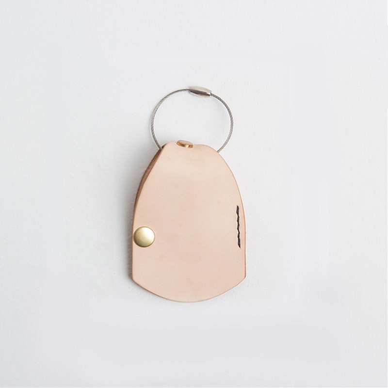 Simple vegetable tanned leather key ring Leather Keychain