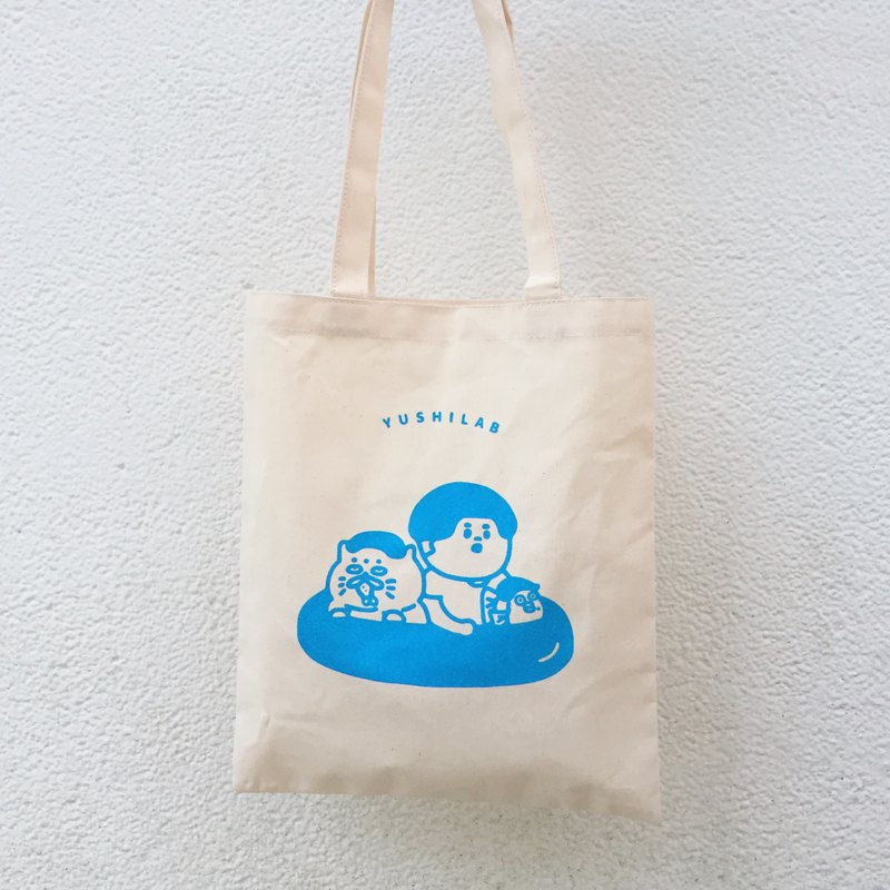 Summer canvas bag shopping bag / swimming ring (water blue)