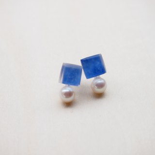 earrings : cube with the pearl EW130
