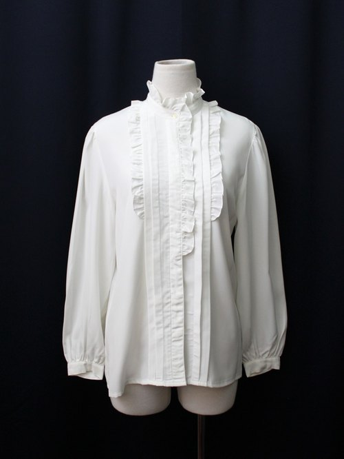 [RE0215T1757] Nippon forest department French minimalist white collar vintage shirt