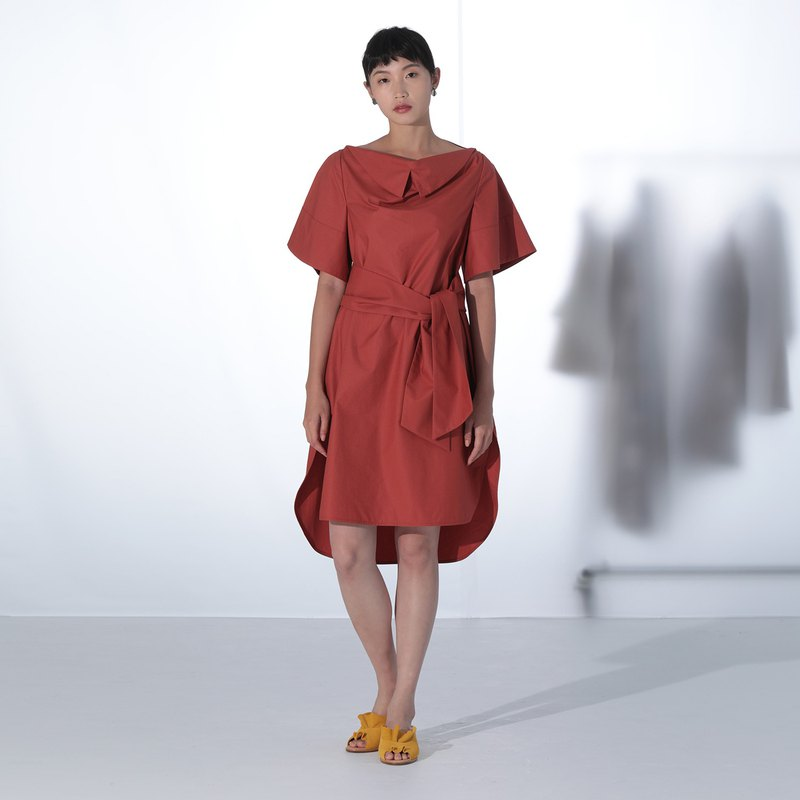Red Droped Neck Cotton Dress
