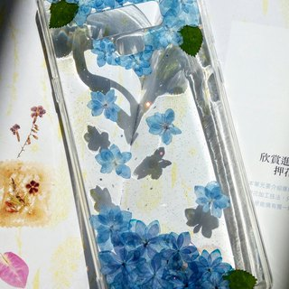 Pressed flowers phone case, Blue Hydrangea