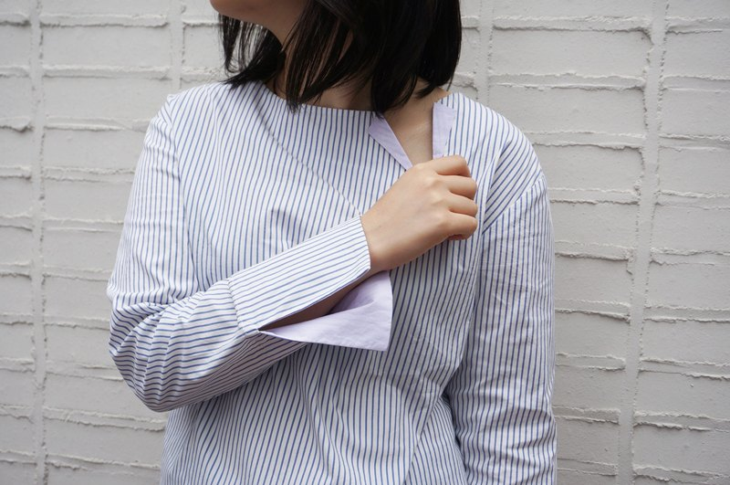 Stripes Bicolor Japanese Cotton Long-sleeved Boxy Shirt