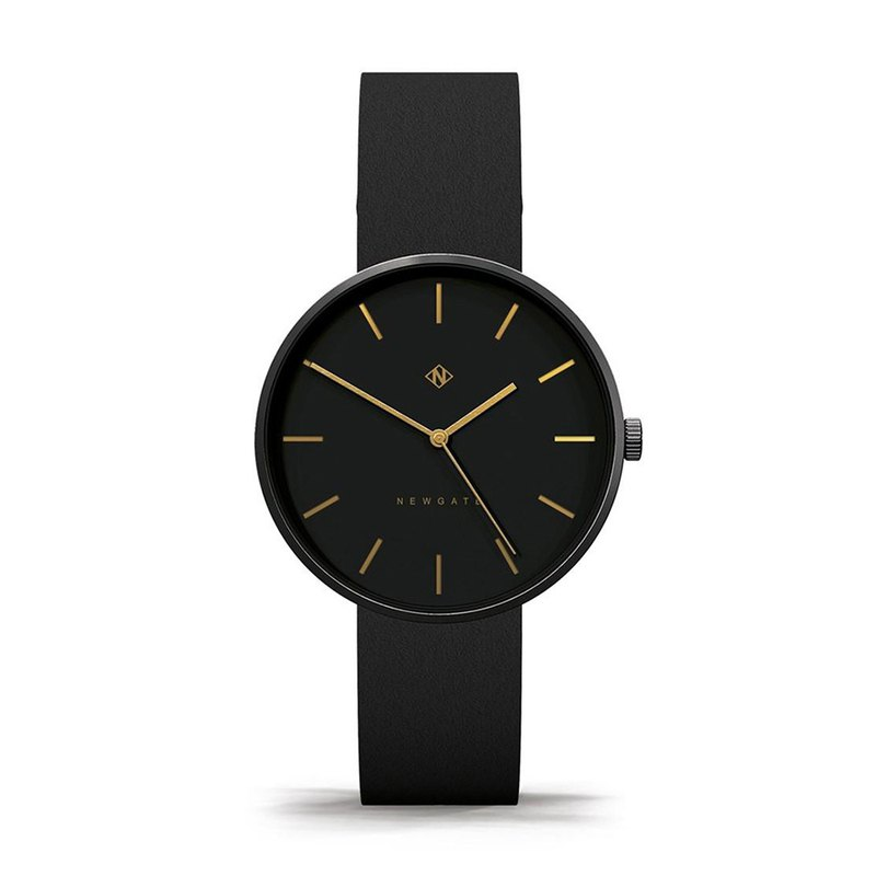 THE DRUMLINE - BLACK-ON-BLACK LEATHER STRAP WATCH