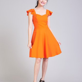 Orange Dress Vintage Dress Party Dress Prom Dress Ruffle Strap Dress Prom Dress