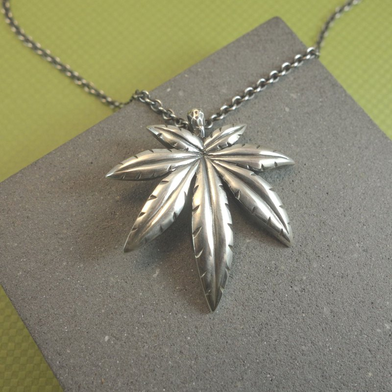 Sterling Silver - Cannabis Leaf Pendant