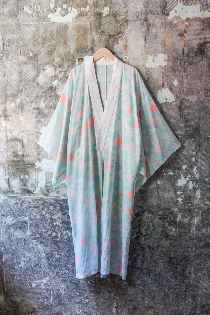 袅袅 department store -Vintage light blue floating cloud Japanese blouse retro