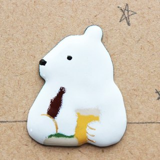 "enamel brooch ""polar bear which has a drink with dinner"""