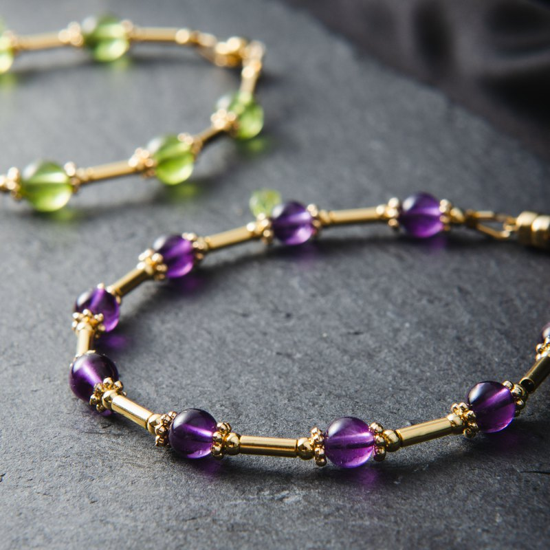 <Aurora> Amethyst, 14K Gold Plated Natural Gemstone Crystal Bracelet