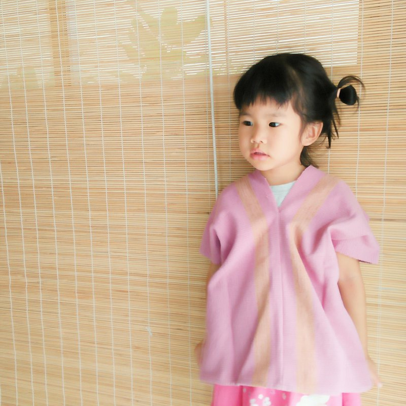 Thai plant dyed & hand-woven tops / pink / line / kids / cotton