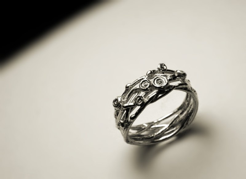 Silver wire flower ring