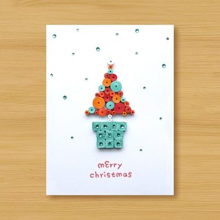 Hand-rolled paper stereo card _ Christmas wishes small pot merry christmas_B