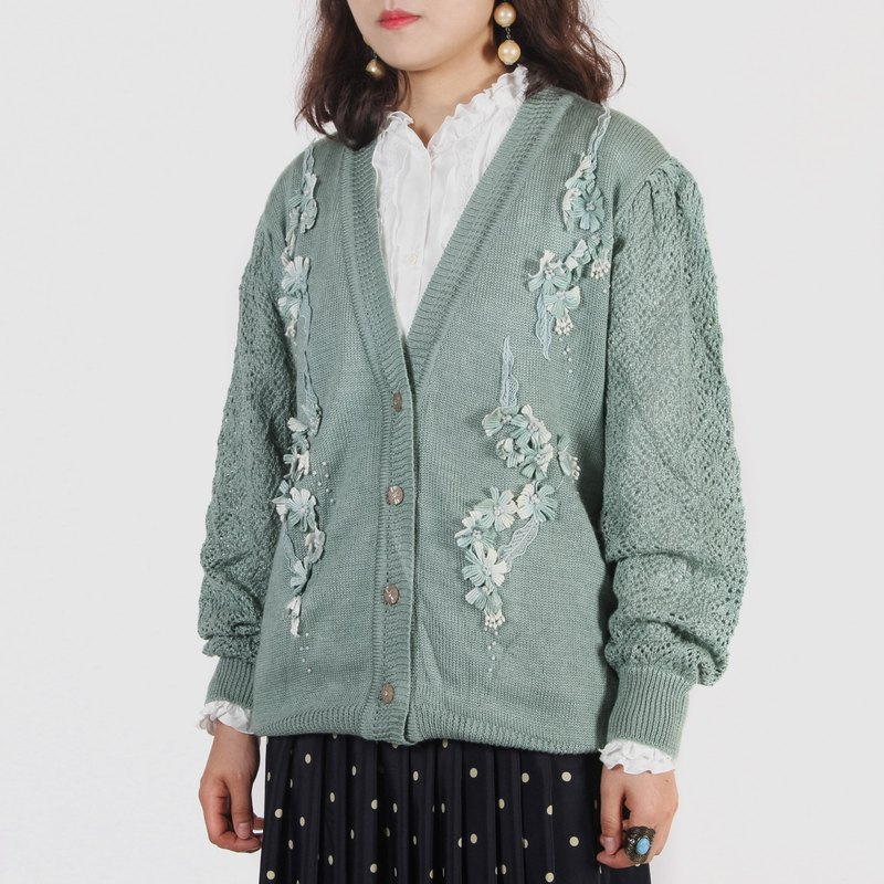 [Egg Plant Vintage] Cat Grass Mint Beads Vintage Thin Knit Sweater Jacket