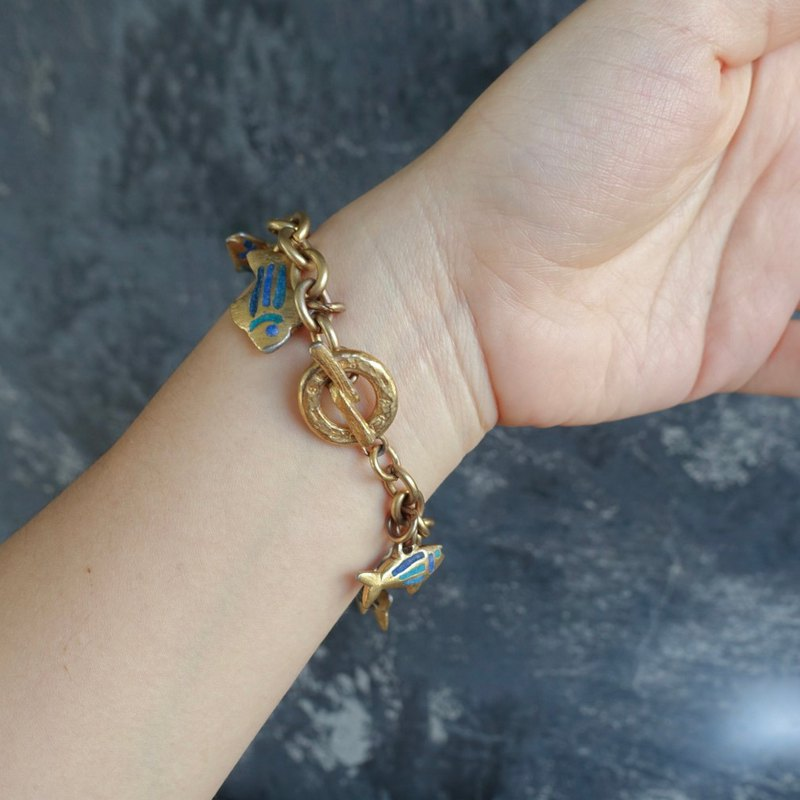 French antique 80's Agatha Paris blue fish bracelet