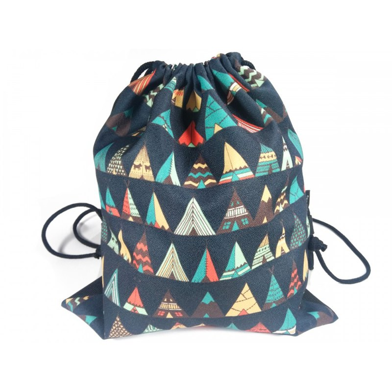 Drawstring bag Backpack Black Triangle Printed Fabric