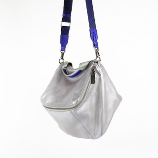 Pimm's Lightweight Sheepskin Casual Shoulder Bag - Silver x Purple