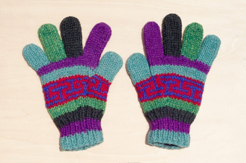 Christmas gift handmade limited edition pure wool knitted warm gloves / knitted gloves / full finger gloves - Purple National Wind Totem Ocean