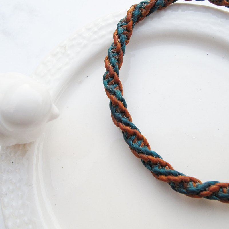 Big staff Taipa [manual] wave pattern × sterling silver hand-woven wax rope bracelet (can choose 2 colors)